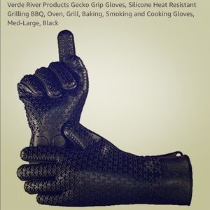 Gecko Grip Silicone Cooking XL Gloves, Black, NEW